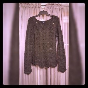 Charcoal Scalloped Sweater NWT